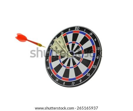 Target with Dart entering and  One Hundred dollar bill in Bulls eye isolated on white background - stock photo