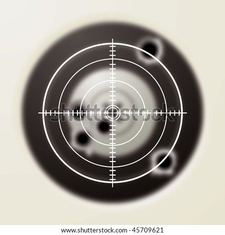 Target with gun shot holes and hunters sporting sight - stock photo