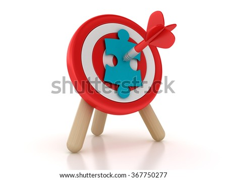 Target with Jigsaw Piece - High Quality 3D Rendering - stock photo