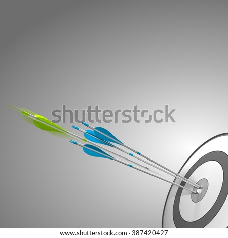 Target with three blue arrows hitting the center, plus a green arrow about to hit the bulleye. image over grey background with copyspace. Concept of success or competitive edge. - stock photo