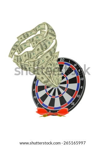 Target with Tornado swirl of One Hundred dollar bill in Bulls eye isolated on white background - stock photo