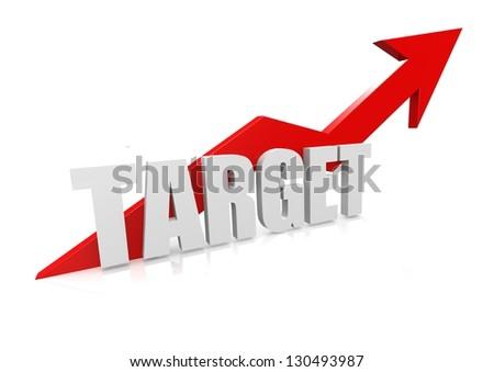 Target with upward red arrow - stock photo