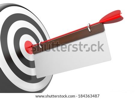 Target with white board - stock photo