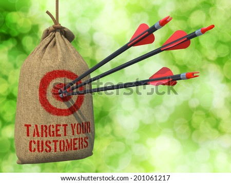 Target Your Customers - Three Arrows Hit in Red Target on a Hanging Sack on Green Bokeh Background. - stock photo