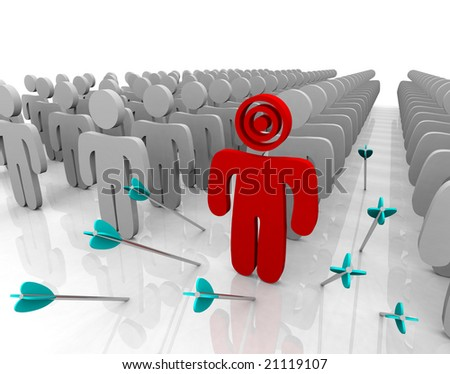 Targeting a single customer in a larger group but missing after shooting several arrows. - stock photo