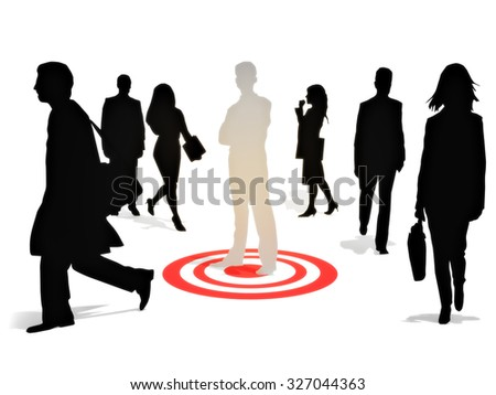 Targeting perfection .Business man standing on a target among a group of competitors isolated on a white background. Focusing on strategy,goals or success concept.  - stock photo
