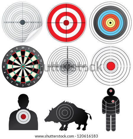 Targets Set. Illustration of Paper Target, Archery Target, Darts board, Range Target, Human and Wild Boar Dummy - stock photo
