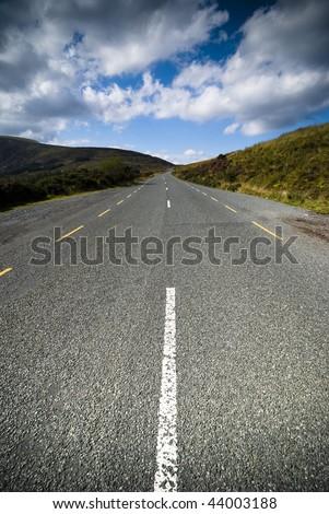 Tarmac scenic road in Dublin Mountains - stock photo