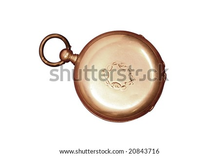Tarnished and battered vintage Swiss pocket watch, isolated on white - stock photo