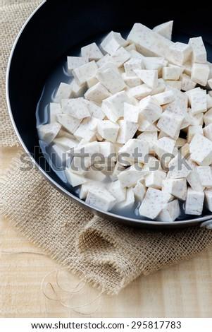 taro cut into pieces - stock photo
