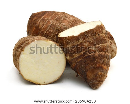 Taro on white background  - stock photo
