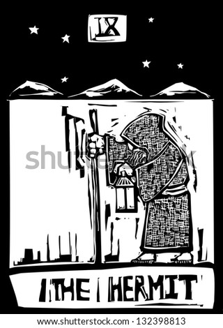 Tarot card image of the Hermit - stock photo