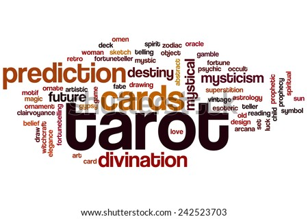 Tarot word cloud concept with cards divination related tags - stock photo