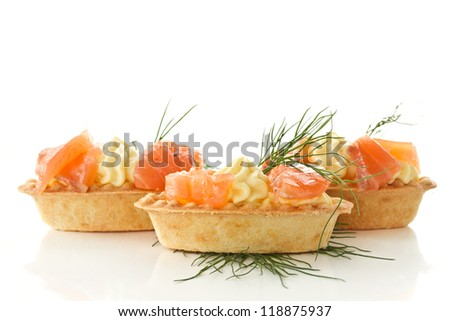 tartlets with cream cheese and salted salmon - stock photo