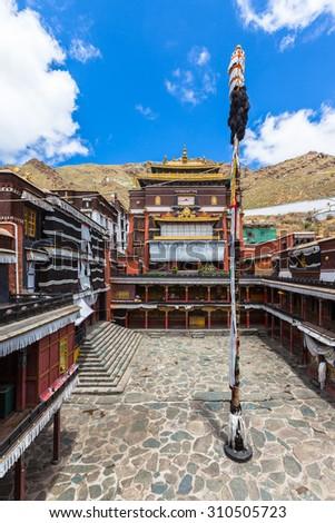 Tashilhunpo Monastery in Shitatse, Tibet, China - stock photo