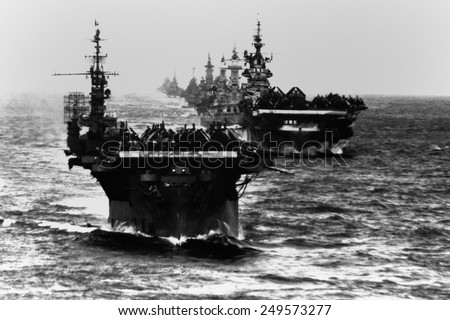Task Group 38.3 entering Ulithi anchorage after the Philippine invasion and Battle of Leyte Gulf. - stock photo