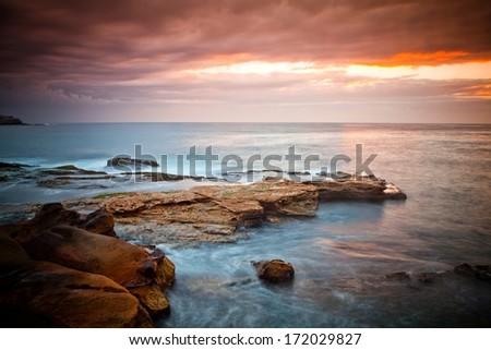 Tasman Sea and the pretty bondi beach - Sydney, Australia - stock photo