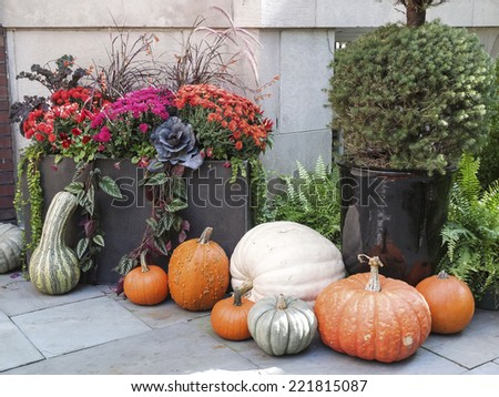 Tasteful home decorations welcoming the fall season. - stock photo