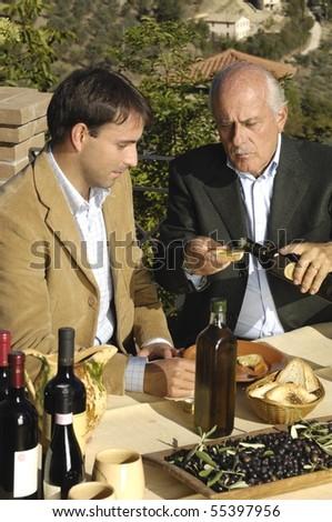 tasting olive oil - stock photo
