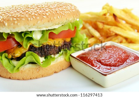 Tasty and appetizing hamburger with fries on white plate - stock photo