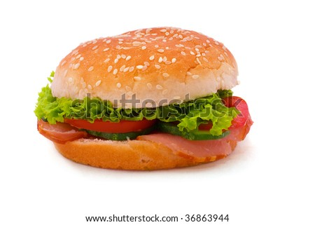 tasty, appetizing, nourishing sandwich on white background - stock photo