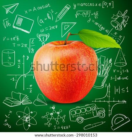 tasty apple and hand draw school icon - stock photo