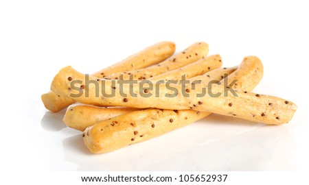 tasty biscuit sticks isolate on white background - stock photo