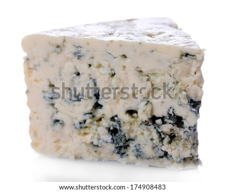 Tasty blue cheese, isolated on white - stock photo