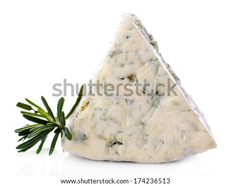 Tasty blue cheese with rosemary, isolated on white - stock photo