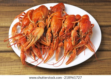 Tasty boiled crayfishes on a white plate  - stock photo