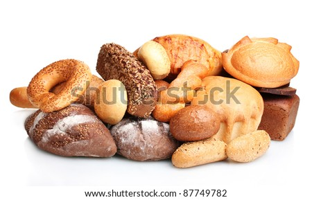 tasty breads and rolls isolated on white - stock photo