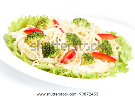 Tasty Broccoli Spaghetti isolated on a white background - stock photo