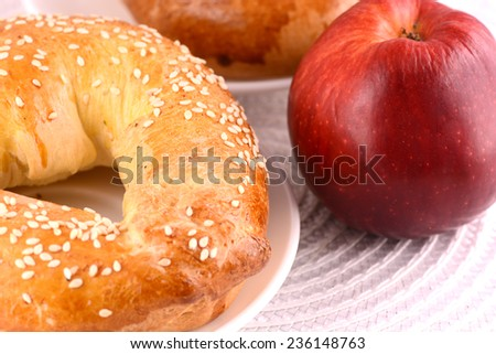 tasty cake and red apple - stock photo