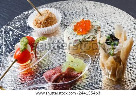 tasty canape - stock photo