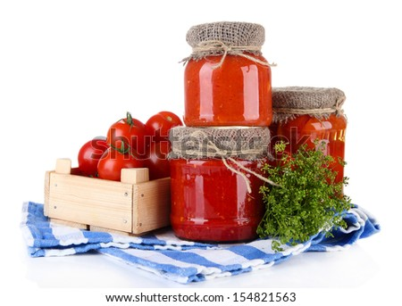 Tasty canned and fresh tomatoes, isolated on white - stock photo