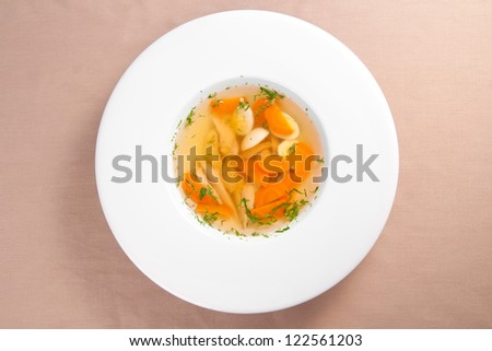 Tasty chicken clear soup - stock photo
