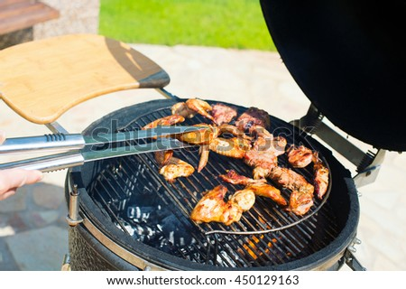 Tasty cooked chicken wings on fire barbecue grill on back yard of country house. Picnic on summer evening ready to eat - stock photo