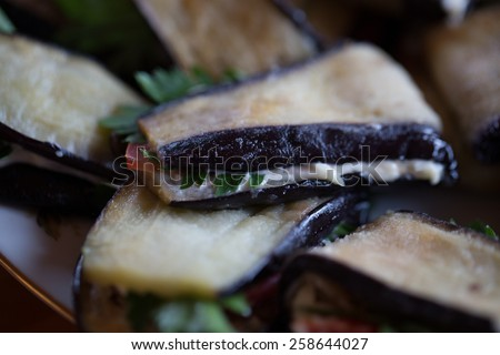 Tasty cooked eggplant - stock photo