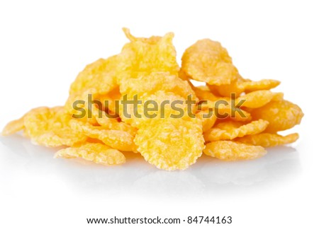 tasty cornflakes isolated on white - stock photo