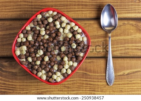 Tasty cornflakes with milk. Morning food. - stock photo