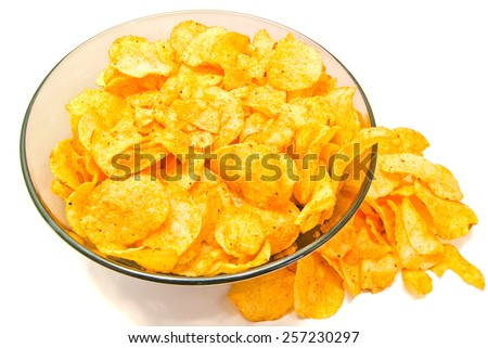 tasty crispy potato chips on white closeup - stock photo