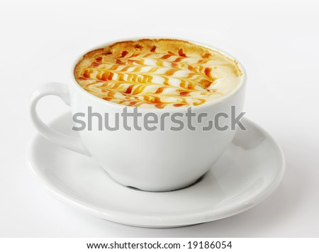 Tasty cup of creative coffee on white - stock photo