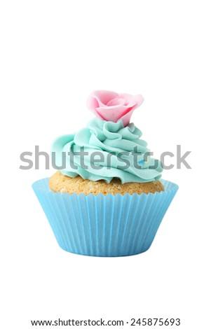 Tasty cupcake isolated on white - stock photo