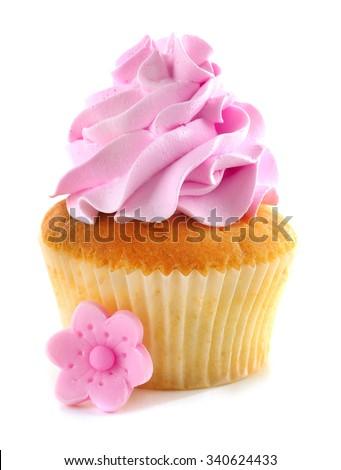 Tasty cupcake, isolated on white - stock photo