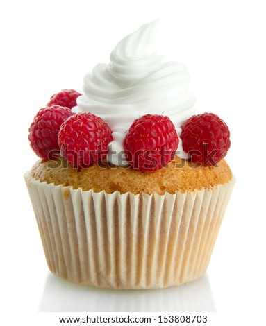 tasty cupcake with berries, isolated on white - stock photo