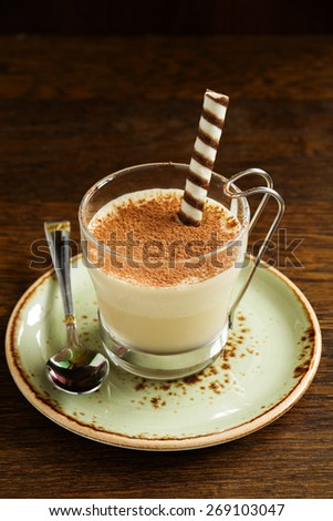 Tasty dessert with coffee and cream. - stock photo