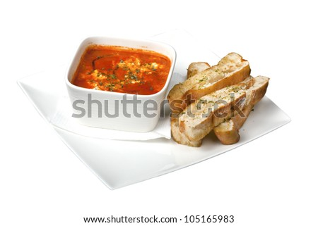 tasty dip with bread - stock photo