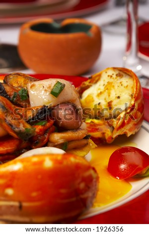 Tasty dish from sea products at restaurant - stock photo