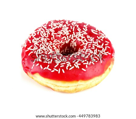Tasty donut, isolated on white - stock photo