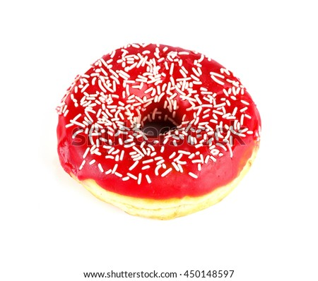 Tasty donut, isolated on white - stock photo